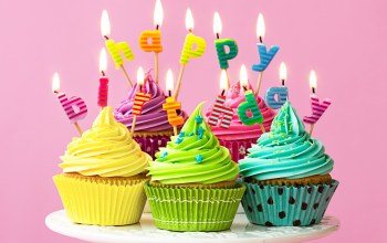 cream,крем,colorful,happy birthday,decoration,день рождения,celebration,candle,rainbow,кексы,Cupcake,Colours,cake