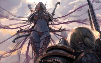armor,fantasy,World of Warcraft: Battle for Azeroth,fantasy art,thighs,elf,wlop,Anduin Wrynn,pointed ears,sylvanas windrunner,game,hood,Arrows,girl,world of warcraft,bow,artwork,sword,red eyes,digital art,painting,weapons,white hair,warcraft