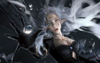 falling,reflection,open mouth,white hair,yellow eyes,girl,Face,elf,Cleavage,wlop,necklace,pointed ears,fantasy art,fantasy,water drops,artwork,digital art,fall,painting