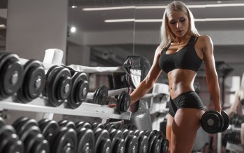 blonde,dumbbells,sports,workout,fitness model,girl,gym,exercising