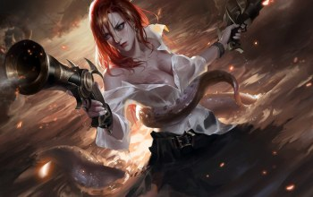 Cleavage,fantasy art,league of legends,game,open shirt,girl,pirate,tentacles,artwork,octopus,chest,Weifeng Liu,Guns,Miss fortune,fantasy,redhead,weapons,water,shirt,breast,digital art