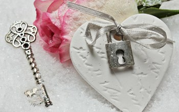 snow,rose,winter,lock,heart,key