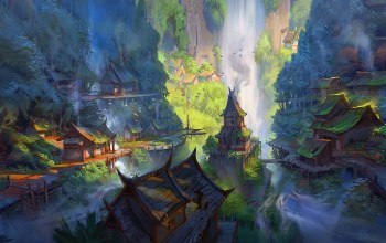 Jeremy Fenske,fantasy art,river,waterfall,fantasy landscape,mist,Cliff,fantasy,waterfalls,trees,painting art,houses,water,digital art,landscape,village,artwork,forest,rocks