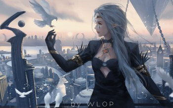 Birds,princess,tattoo,Tear,artwork,dress,fantasy art,Dove,fantasy girl,fantasy,glove,pointy ears,long hair,wlop,skyscrapers,white hair,buildings,digital art,pointed ears,girl,elf