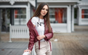 girl,photographer,Face,open mouth,brunette,lipstick,red jackets,brown eyes,Maxim Romanov,mouth,long hair,jackets,lips,leather jackets,portrait,makeup,Maksim Romanov,depth of field,straight hair,pants,looking at camera,looking at viewer,photo
