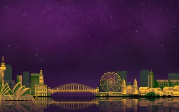sydney,City Backgrounds,game art,illustration,by Caio Perez,Caio Perez,digital,ночь