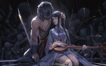 anime girl,feeling,boy,DNF,fantasy,wlop,mood,digital art,woman,couple,kneeling,musical instrument,artwork,girl,fantasy art,sword,asian,musician,lute,weapon