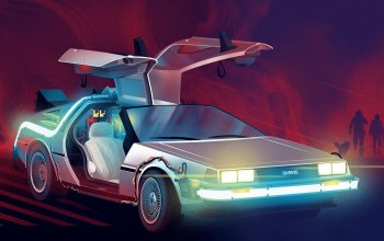 delorean dmc-12,dmc-12,Retrowave,synthwave,delorean,рисунок,dmc,back to the future,Фантастика