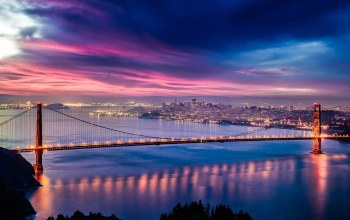 Golden gate,skyline,sky,evening,skyscrapers,lights,Sunset,clouds,san francisco,Twilight,san francisco bay,united states of america,golden gate bridge,Cityscape,california,bridge,buildings