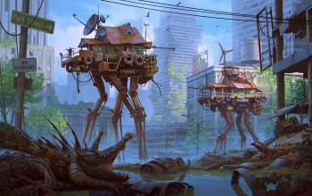 creature,fantasy art,fantasy,car,water,traffic signs,artwork,digital art,houses,sci-fi,science fiction,Road,colorful,ruins,swamp,skyscrapers,Apocalyptic,buildings