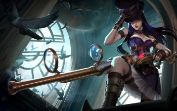 Birds,weapon,пушка,girl,league of legends,caitlyn,Лига Легенд,Кейтлин,riot games,прицел,gun,Hat,птички,hair,game