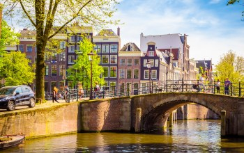 netherlands,Amsterdam,bridge,old,spring,buildings,Весна
