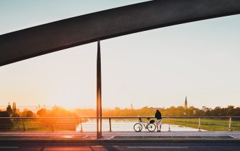 contemplation,rider,bike,river,horizon,bridge,Meditation,Sunset