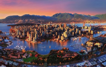 canada,trees,buildings,bridges,vancouver,sky,forest,Sunset,Cityscape,mountains,landscape,boats,ships,harbor,skyscrapers