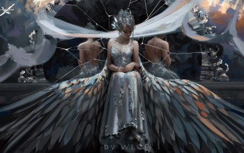 fantasy,pointy ears,ghostblade,elf,mirror,blood,wound,bare shoulders,artwork,wlop,sitting,wings,girl,dress,evening dress,mood,broken mirror,pointed ears,princess,bare back,sadness,reflection,digital art,fantasy art