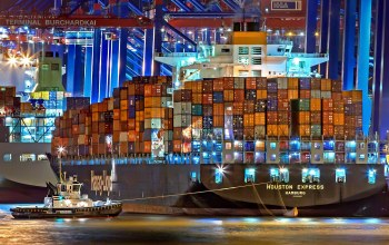 Hapag-Lloyd,судно,буксир,Container Ship,ночь,Houston Express,port,контейнеровоз,Vessel,Tug,M/V Houston Express