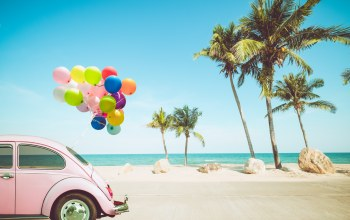 beach,paradise,лето,sand,colorful,holiday,car,волны,balloons,отдых,vacation,tropical,summer,каникулы,seascape,воздушные шары,palms