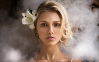close up,strap,bare shoulders,photographer,looking at viewer,Alisa Tarasenko,flower,lipstick,pink lipstick,green eyes,blonde,portrait,Face,dennis drozhzhin,Alice Tarasenko,mouth,smoke,photo,flower in hair,bokeh,lips,girl,depth of field,looking at camera