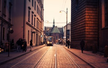 cathedral,tram,Krakow,church,Poland,people,street