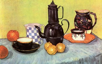 Still Life Blue Enamel Coffeepot,чайник,Earthenware and Fruit,стол,лимоны,Vincent van Gogh,яблоки