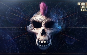 Beyond Good & Evil 2,scull,monkey,mohawk,tatoo,map,dark background