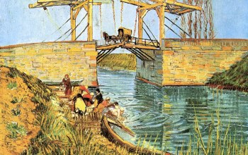 мост,лодка,The Langlois,Bridge at Arles,женщины стирают,карета,Винсент ван Гог