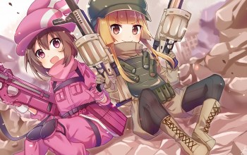 Sword Art Online Alternative: Gun Gale Online,Sword Art Online,оружие, девочки,аниме