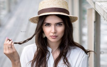 model,Maksim Romanov,close up,shirt,Hat,photo,girl,looking at camera,lips,Maxim Romanov,mouth,Face,photographer,brown eyes,brunette,depth of field,portrait,looking at viewer