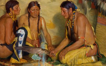 Blackfoot Ceremony,Joseph Henry Sharp,Grass Medicine,Making Sweet