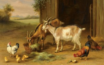 Edgar Hunt,British painter,Pair of farmyard scenes,Эдгар Хант,британский живописец,Пара сцен на ферме,1922