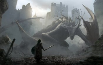 Jan Ditlev,aproaching a dragon,Рыцарь, дракон