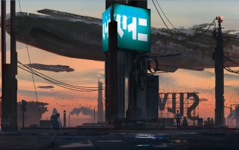 Twilight,fantasy art,skateboard,girl,futuristic,boy,fantasy,digital art,Sci-Fi,klaus wittmann,Birds,artwork,people,graffiti,factories,science fiction,spaceships,billboards,evening,rooftops,Sunset