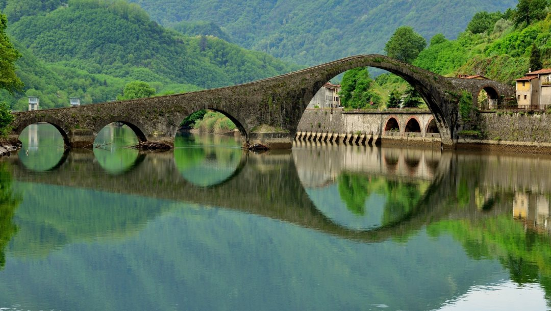 reflections,bridge,arch
