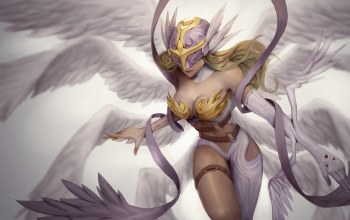digital art,artwork,breast,helmet,wings,fantasy art,blonde,angel,Cleavage,girl,fantasy,chest