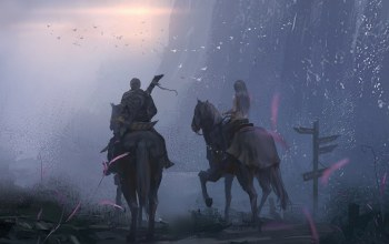 warriors,signals,weapon,fantasy art,wlop,artwork,cross,Horses,crossing,boy,Sunset,evening,sword,Twilight,girl,knights,digital art,couple
