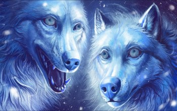 fantasy,wolves,two,арт