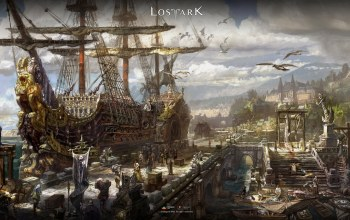 game,#Sea,city,шип,fantasy,digital art,clouds,sailing ship,people,boats,harbor,Lost Ark,Goods,artwork,pier,sky
