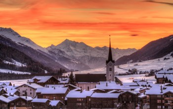 Sunset,Ulrichen,Switzerland,winter,Goms