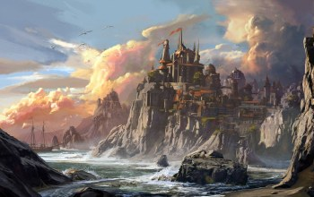 корабль,замок,берег,Neverwinter Harbor,Wizards of the Coast,Jedd Chevrier