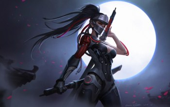armor,ponytail,mask,girl,long hair,helmet,game,sword,arms,#moon,Genji,fantasy art,breast,artwork,Cleavage,chest,fantasy,«warrior»,overwatch,digital art,red eyes