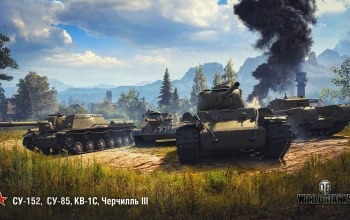 wot,Черчилль III,су-85,кв-1с,World of Tanks,Су-152,wargaming