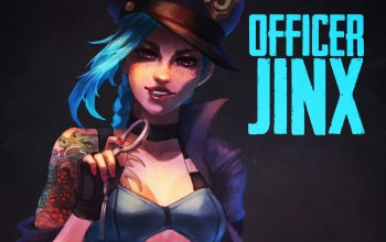девушка,Jinx,ЛОЛ,officer,the loose cannon,league of legends,арт