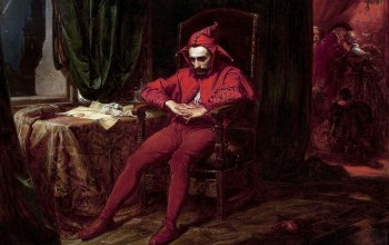feeling,rattles,ман,mood,hood,sadness,red dress,Jan Matejko,артист,sitting,painting art,painter,interior,jester,artwork,room,Melancholy,chair,арт,table,painting,portrait,dress