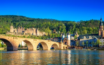 Heidelberg,Germany,old bridge,Neckar River,The Karl Theodor Bridge,summer,city,sunny,sky,bridge, castle