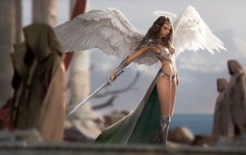 weapon,girl,armor,monks,fantasy art,illustration,wings,elf,fantasy girl,digital art,fantasy,«warrior»,angel,artwork,sword