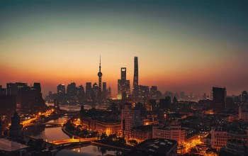 Twilight,Cityscape,water,#Sea,bridges,Бай,Sunset,#night,architecture,sky,lights,china,river,buildings,evening,city,shanghai,skyscrapers
