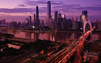 architecture,evening,water,clouds,Cityscape,guangzhou,river,Twilight,city,china,Sunset,sky,cars,lights,buildings,skyscrapers,bridge,Pearl River