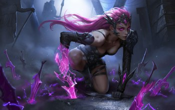 weapons,fantasy,artwork,girl,daggers,fantasy art,pink hair,«warrior»,fantasy girl,Cleavage,pink eyes,digital art,armor,dark