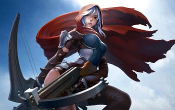 hood,weapon,girl,artwork,Crossbow,cape,leather armor,fantasy art,Арчер,«warrior»,fantasy,armor