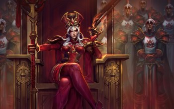 tight clothing,Sally Whitemane,girl,artwork,World of Warcraft,throne,armor,red eyes,white hair,soldiers,helmet,crown,sword,heroes of the storm,game,fantasy,weapons,warcraft,queen,digital art
